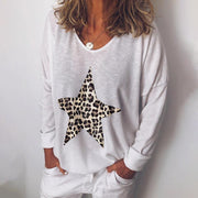 Casual V-Neck Leopard Print Long-Sleeved T-Shirt