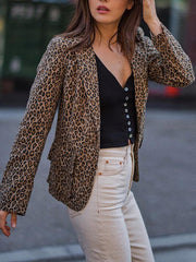 Fashion Leopard Print Long Sleeve Blazer