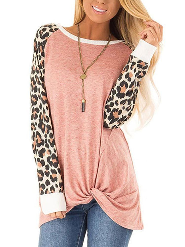 fashion casual leopard print round neck patchwork loose t-shirt