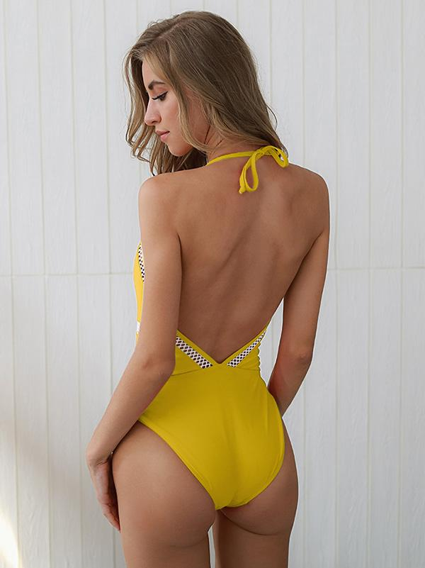 Spaghetti-neck Hollow One-piece Swimsuit