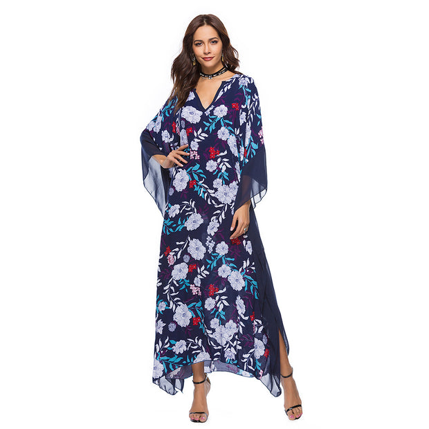 V-neck Bat Sleeve Floral Maxi Dresses