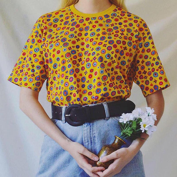 Casual Floral Printed Round Neck Short Sleeve T-shirt
