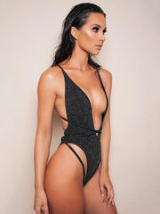 Lace Up Backless One-Piece Swimsuit