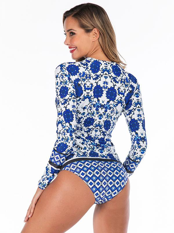 Floral Printed Two Pieces Wetsuit