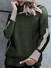 Knitting Sweater Long Sleeve Patchwork Autumn Pullover