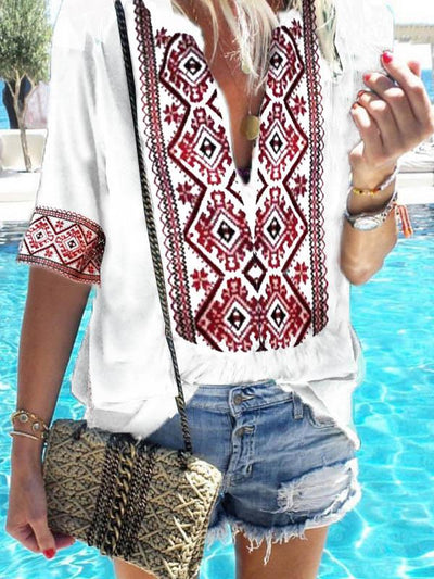 Loose Printed Deep V-neck Half Sleeve T-shirt