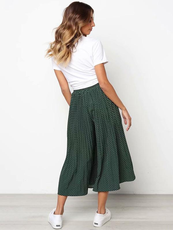 Polka-Dot Pleated Casual Pants Bottoms