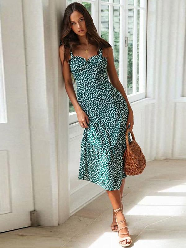 Bandage Ruffled Printed Maxi Dress