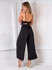 V-neck Wide Leg Backless Jumpsuit