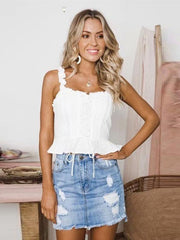 Solid Bandage Ruffled Spaghetti-neck Vest Top