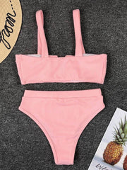 Bandeau With High Waist Bikini Set