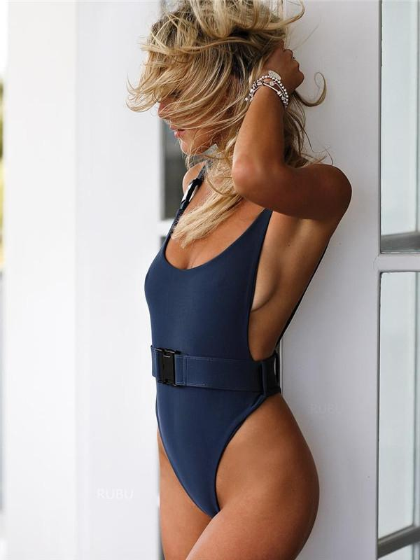 Plunge Neckline One Piece Swimsuit