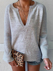 Casual Solid Color V-neck Loose Long-sleeved T-shirt