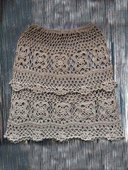 Hollow Crochet Beach Skirt Bottom