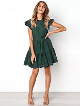 Solid Color Round Neck Hollow Mini Dress