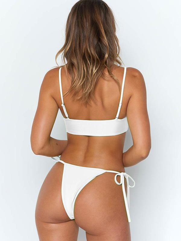 Button Top Knot Side Bottom Bikinis Swimwear