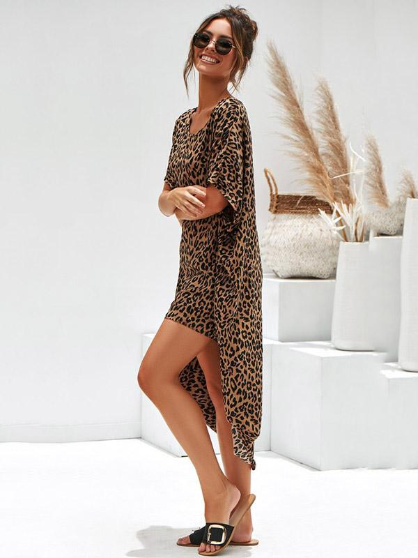 Leopard Loose Midi Dress