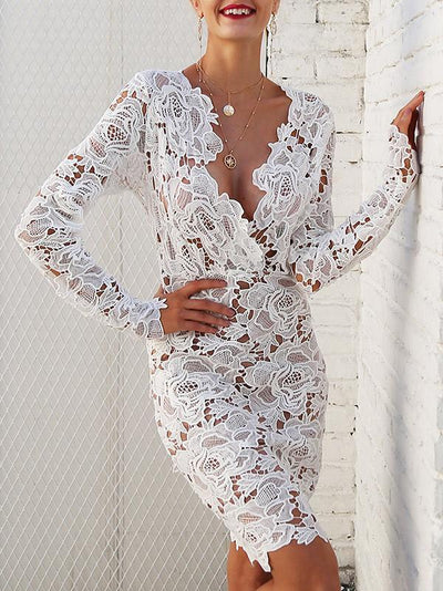 Sexy Lace Hollow Long Sleeves Bodycon Dresses