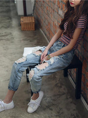 Ripped Loose High Waist Jeans Pants Bottoms