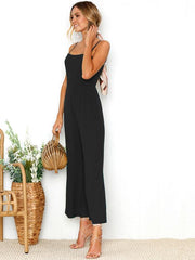 Solid Color Spaghetti-neck Wide Leg Jumpsuits