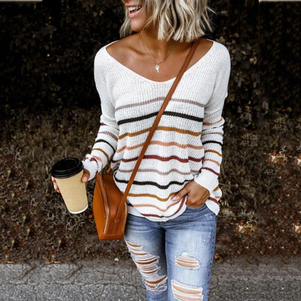 Casual striped big v-neck loose sweater