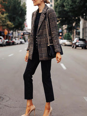 Fashion Plaid Long Sleeve Blazer