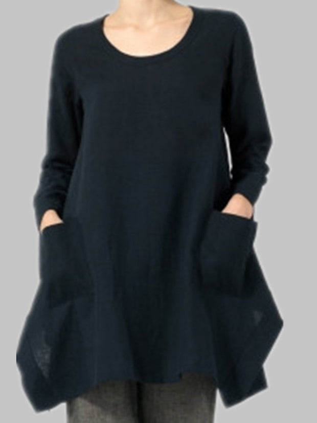 Long Sleeve Shift Casual Solid Fall Dress