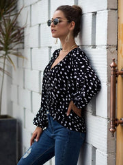 Polka-dot Puff Long Sleeve V-neck T-shirt
