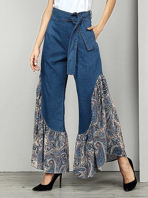 Belted Printed Split-joint Jean Bell-Bottom