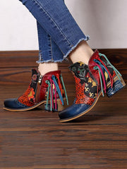 Printed Split-joint Tassels Zipper Booties