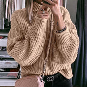 Fashion Solid Color High Collar Sweater