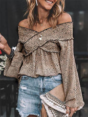 Sexy Leopard Print Off-Shoulder Blouse