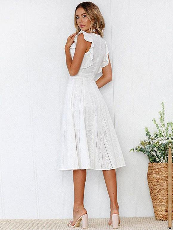 Lace Hollow Fuffled Irregular Midi Dress