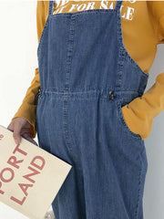 Maternity Elastic Waistband Spaghetti-neck Denim Jumpsuits