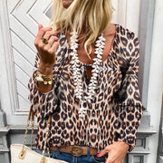Streetwear Leopard Print Long Sleeve Square-cut Collar T-Shirt