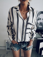 Stripes Fashion Blouses&shirts Tops