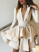 Deep V-neck Long Sleeve Tight with Belt Mini Dress