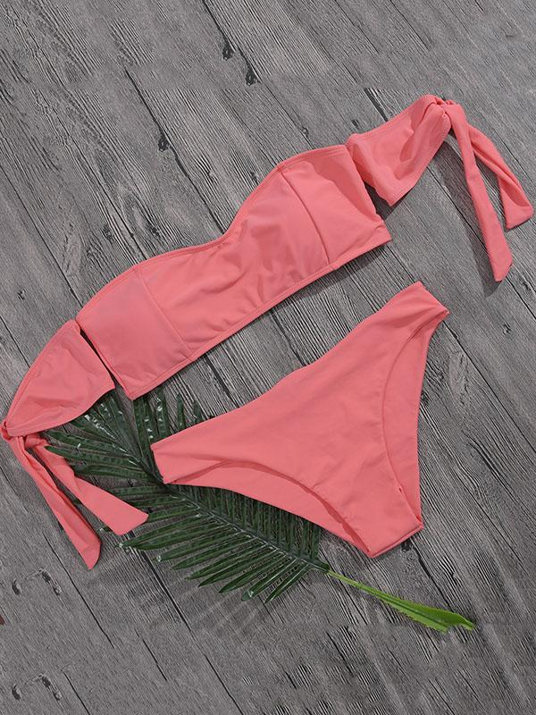 Plain Bandeau Bikini Swimsuit