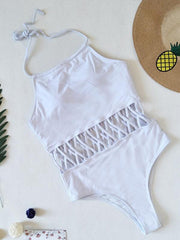 Sennit Hollow Lace-up One-piece Swimsuit