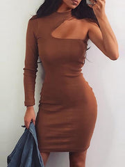 Solid Color Hallow Slim Bodycon Dress