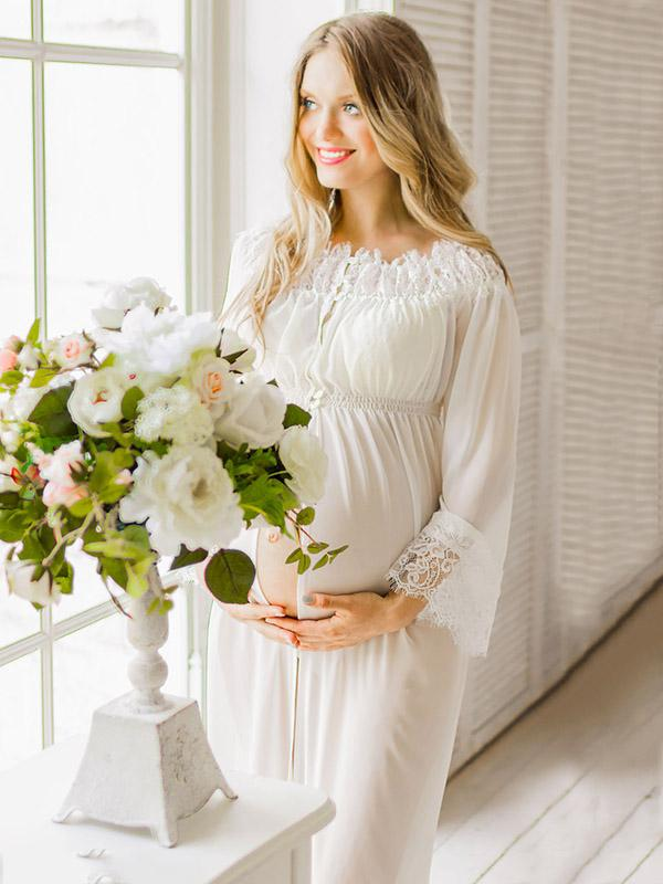 Maternity Lace Off-the-shoulder Maxi Dress