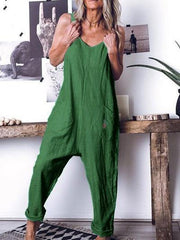 Loose High-waist Sleeveless Pockets Jumpsuit