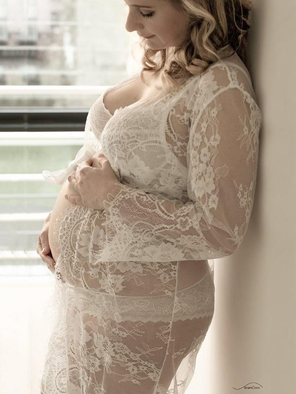 Maternity Lace Long Sleeve Cover-ups Swimwear