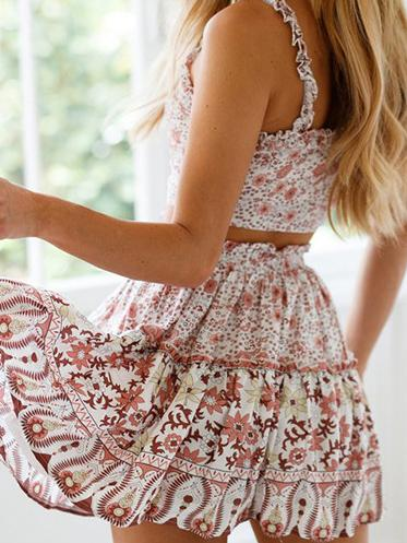Floral Ruffled Printed Spaghetti-neck Mini Dress Suit