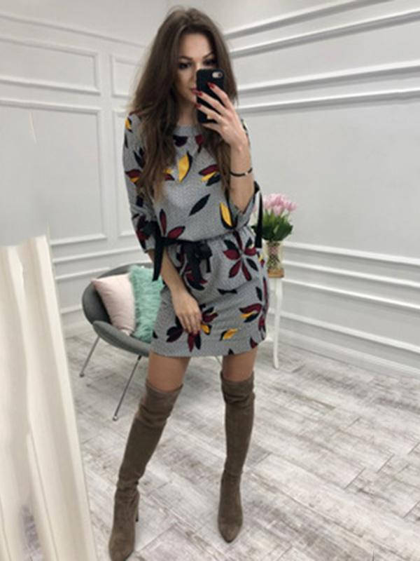 Floral Flared Long Sleeves Mini Dress