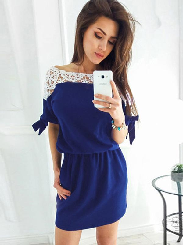 Lace Bodycon Waisted Bowknot Midi Dress