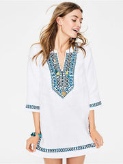 V-neck Half Sleeves Beach Loose Cover-Ups
