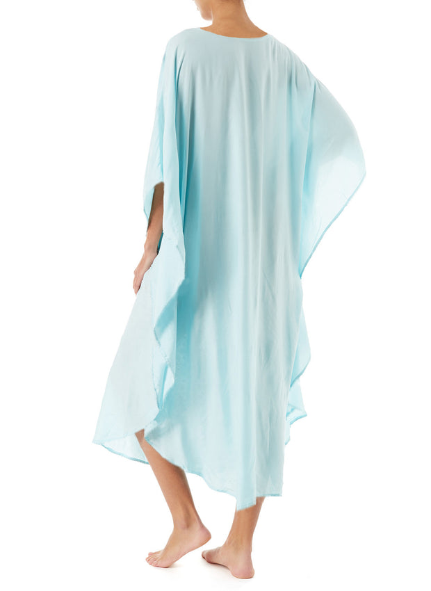 Plus Size Cloak Sleeve V-neck Symmetrical Embroideried Cover Ups
