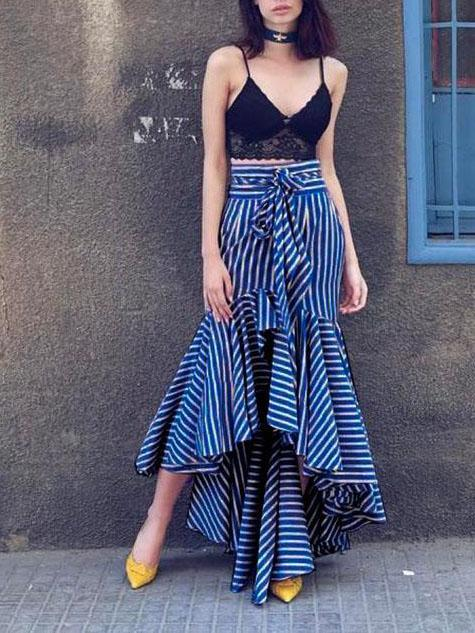 Bandage Striped Falbala Fishtail Skirt Bottoms