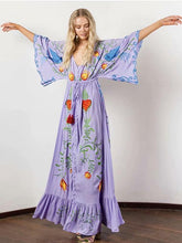 Bohemia Retro Embroidered Falbala Maxi Dress